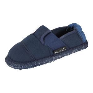 Nanga Kinder Jungen Hausschuhe Klette Pantoffeln Baumwolle Slipper blau