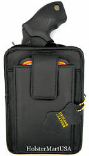 Black Leather Concealment Gun Pistol Holster Waist Pack - RUGER LCR 38 REVOLVER