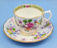 PLANT TUSCAN BONE CHINA AND COLCLOUGH ENGLAND CUP AND SAUCER SET FLORAL