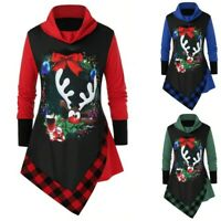 Womens Long Sleeve T Shirt Turleneck Sweatshirt Christmas Print Tee Tops Blouse