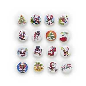 50pcs Christmas Theme Wooden buttons for Sewing Scrapbooking Cloth Decor 15mm