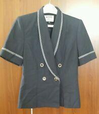Kasper Women's Navy Blue Detailed Polyester/Rayon S/S Petite Blazer Blouse Sz 8P