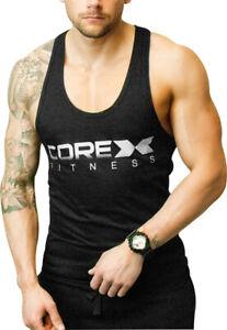 Corex Fitness Logo Mens Gym Vest Black Bodybuilding Weightlifting Workout Tank