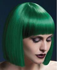 Women's Fever Short Blunt Cut Green Professional Model Wig Fancy Dress Fun
