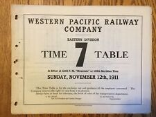 Western Pacific Railway Eastern Division Emp Time Table #7, 11-12-1911