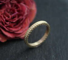14k Yellow Gold Textured Ring, Wedding Band, Vintage Inspired, Size 6.25
