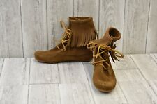 Minnetonka Tramper Suede Moccasin Booties, Women's Size 5, Dusty Brown NEW