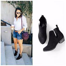 Shopglamla BLACK BEIGE Faux Suede Cutout ankle bootie ankle boots 5.5-10