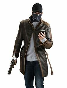 Watch Dogs Aiden Pearce Fur Collar Distressed Trench Genuine Leather Coat