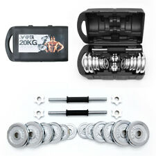 20kg Dumbbells Weights Set Cast Iron Chrome with Box Free Delivery
