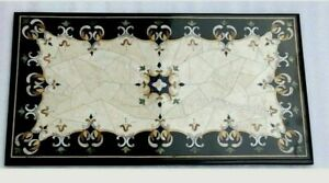 18 x 36 Inches Black Corner Table Top Marble Coffee Table with Cottage Crafts