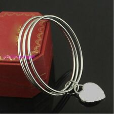 316L Stainless Steel 68mm Round Bangle With Cute Heart Charm Bracelet For Women