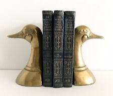 Vtg Brass Duck Bookends Pair Heavy Leonard Silver Mfg Company Mallard Goose Gold