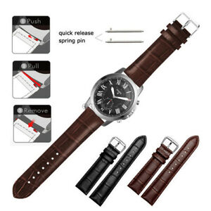 Crocodile Leather Wrist Watch Band Strap For Fossil Smart Watch Quick Release