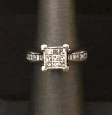 10k White Gold Ladies Ring with Diamonds 4.8g Size 6