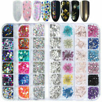 12Grid Nail Glitter Sequin Mixed Mirror Sugar Peacock Round Manicure Tips hot