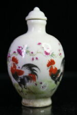Collect Handwork Porcelain Paint Big Beautiful Roosters Exquisite Snuff Bottles
