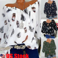 Women's Casual Lace Up V Neck Blouse T Shirt Ladies Loose Feather Print Tops USA