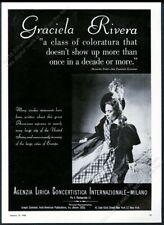 1950 Graciela Rivera photo opera singing tour booking trade print ad