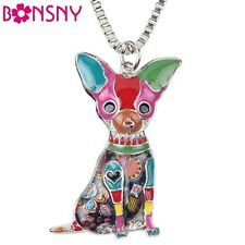 Newei Enamel Alloy Chihuahuas Dog Choker Necklace Chain Collar Pet Pendant