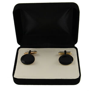 """Gold Tone Cufflinks Mens New Black Oval Big Classic Made In USA Boxed 3/4"""""""