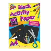 A4 Black Paper Children's Kids Art Craft Drawing Pad 50 Sheets