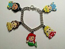 Childs Handmade Silver Bracelet with 5 Rubber PRINCESS Charms - 16 cm.
