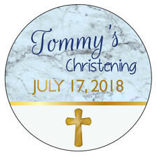 EXTRA LARGE CHRISTENING Party Stickers BLUE Boy Christian Communion GLOSSY 977
