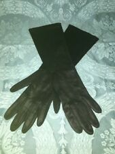 "Analon Hansen 6 1/2 black sleek opera gloves S-M 14"" length vintage dress formal"