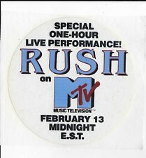 Rush 1981 MTV bumpersticker bumper sticker unused / unpeeled MINT