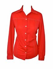 WOMEN'S/LADIES 1970's VINTAGE CLOTHES, RED RETRO BLOUSE/SHIRT, 12