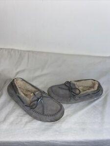 Ugg Australia Ladies Grey Moccasins Slippers Uk 4/4.5 Ref Ba4