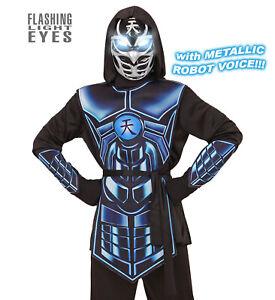 Cyber Ninja Kinder Kostüm Licht und Sound Effekt Jungen Ninjakostüm Halloween