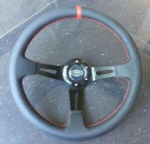 Deep Dish 350mm Universal Steering Wheel Black Leather Red Stitching OMP MOMO