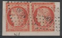 """FRANCE  STAMP TIMBRE N° 5a """" CERES 40c ORANGE VIF PAIRE """" OBLITERE PC 1096  N314"""