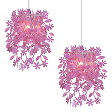 Pair of Girls Modern Pink Leaves & Flowers Tangle Ceiling Light Shades Lampshade