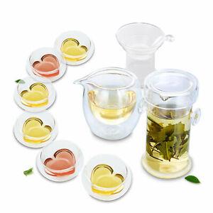 9in1 Tea Set- Glass Double Eared Teapot + Strainer +Pitcher +6x Heart-shape Cups
