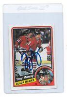 TROY MURRAY Signed 1984 O-PEE-CHEE Hockey Rookie CARD #42 Chicago BLACKHAWKS OPC