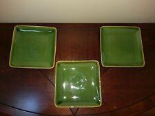 3 Crate \u0026 Barrel Stoneware Ceramic Appetizer Dessert Salad Plates Square Green & Crate and Barrel Square Dinnerware Plates | eBay