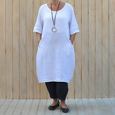 Linen Short Sleeve Midi Plus Size Dresses for Women