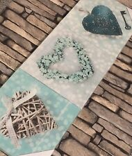 Duck Egg Blue Teal Love Heart Canvas Wall Art Pictures Set of 3