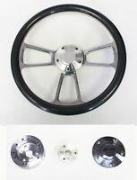 "70-77 Ford Mustang Carbon Fiber and Billet Steering Wheel 14"" Plain Center Cap"