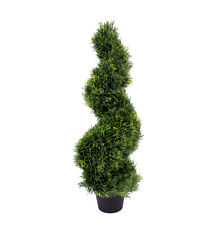 Blooming Artificial 90cm / 3ft Artificial Cedar Spiral Topiary Tree UV Stable