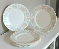 "VTG ARCOPAL France Champetre Floral Scallop 10 1/2"" Dinner Plates x6"