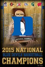 DUKE BLUE DEVILS 2015 NCAA Men's Basketball NATIONAL CHAMPIONS POSTER