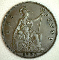 1932 Great Britain Penny KM#838 Bronze Coin George V XF #P