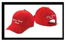 CUSTOM EMBROIDERED PERSONALIZED CONSTRUCTED CAP HAT WHITE, BLACK, RED or KHAKY