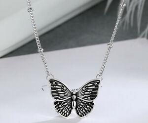 Retro Blue Butterfly Pendant 925 Sterling Silver Chain Necklace Womens Jewellery