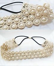 Romentic Elastic Lace Pearl Headband Hairband For Women Girls Ladies