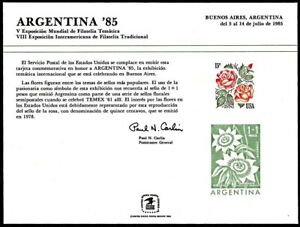 USPS PS58 Souvenir Card, Argenina'85, Argentina and US flower stamps, 1985